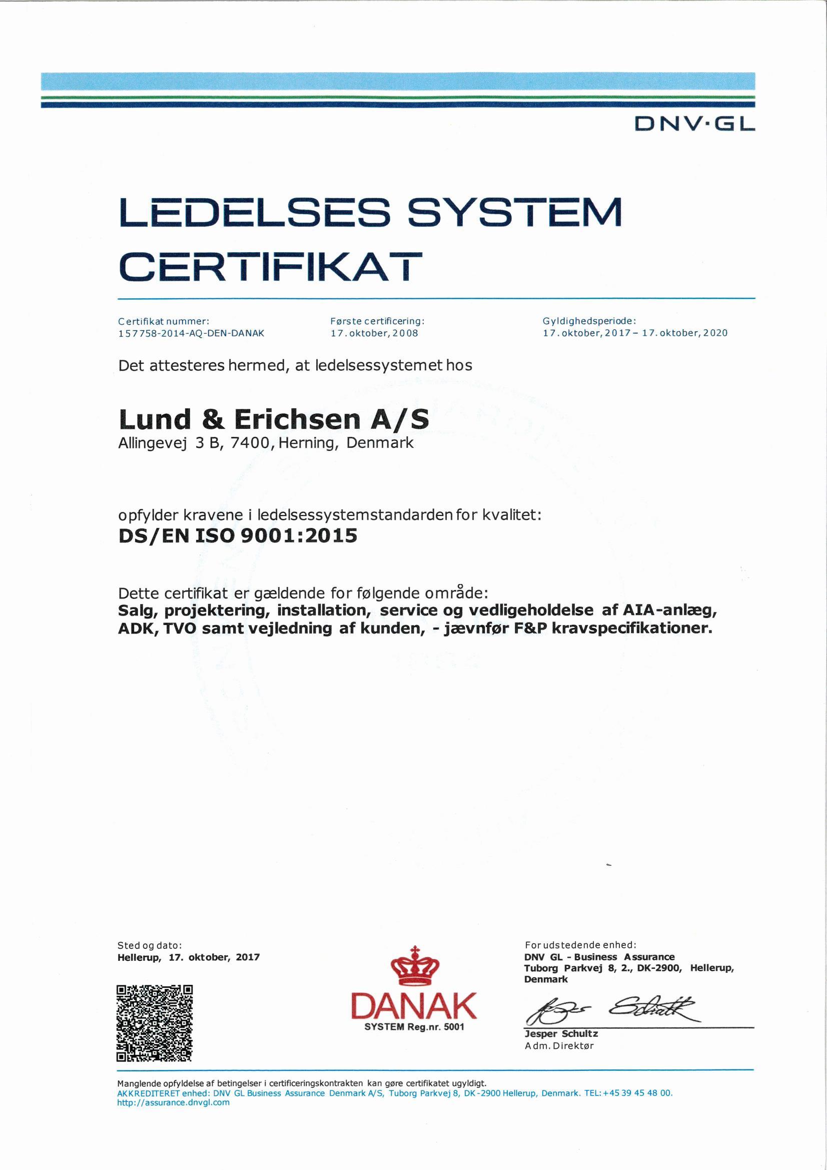 ISO 9001 Certifikat L&E